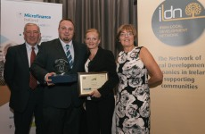 Katie & Tomasz receiving their award from Mr. Garrett Stokes of Microfinance Ireland and ILDN Chair Marie Price Bolger