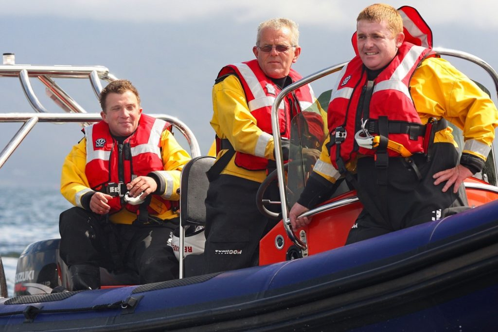 Paddy Casey R.I.P. in action with the Ballinskelligs Inshore Rescue at a regatta in Sneem - August 2008. Picture by Valerie O'Sullivan