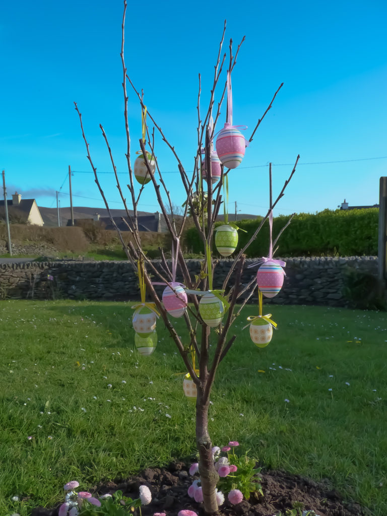Easter Tree with hanging eggs