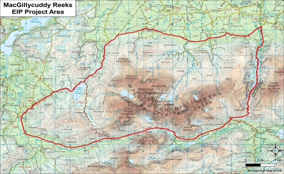 Map of MacGillycuddy Reeks EIP Project area