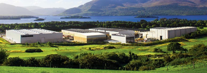 panoramic view of liebherr killarney with lakes in background